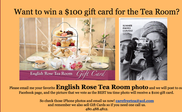 > June 24th – Photo contest – Want to win a $100 gift card for the Tea Room?