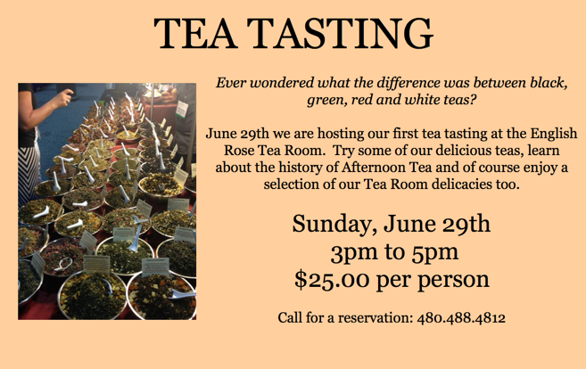 > June 29th Sunday 3pm. Our first Tea Tasting at the English Rose Team Room